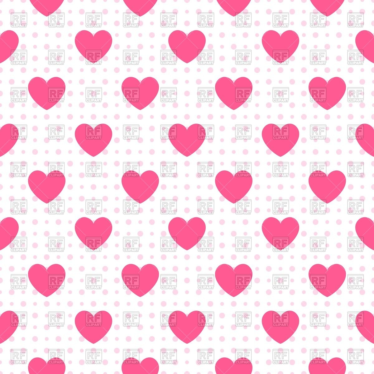 1200x1200 White Seamless Wallpaper With Pink Hearts Vector Image Vector
