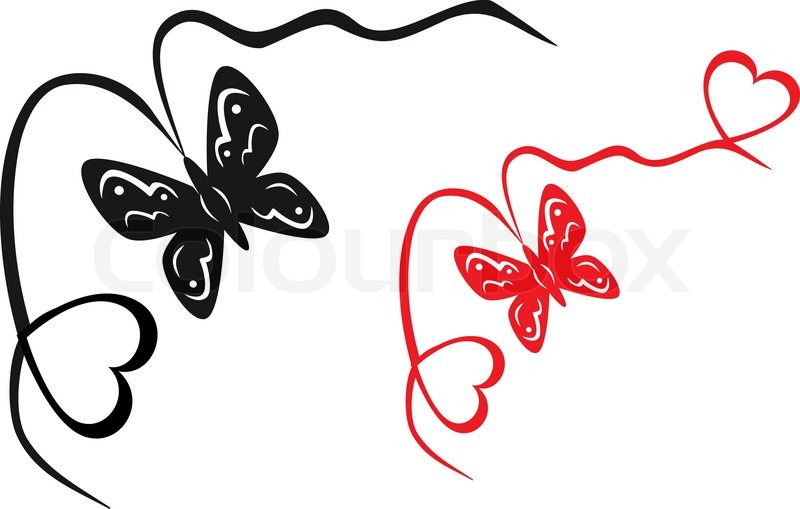 800x509 Abstract Black And White Butterfly And Hearts Vector Illustration