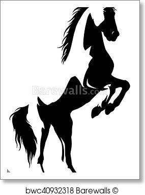 285x382 Art Print Of Black And White Linear Paint Draw Horse Vector