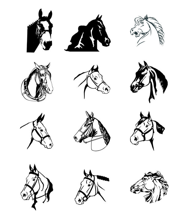 600x694 Black And White Horse Vector Download Free Vector,3d Model,icon