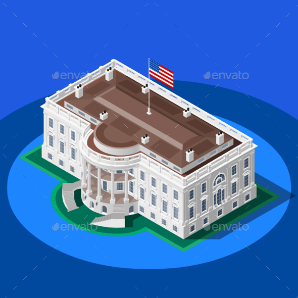 590x590 Election Infographic White House Vector Isometric Building By