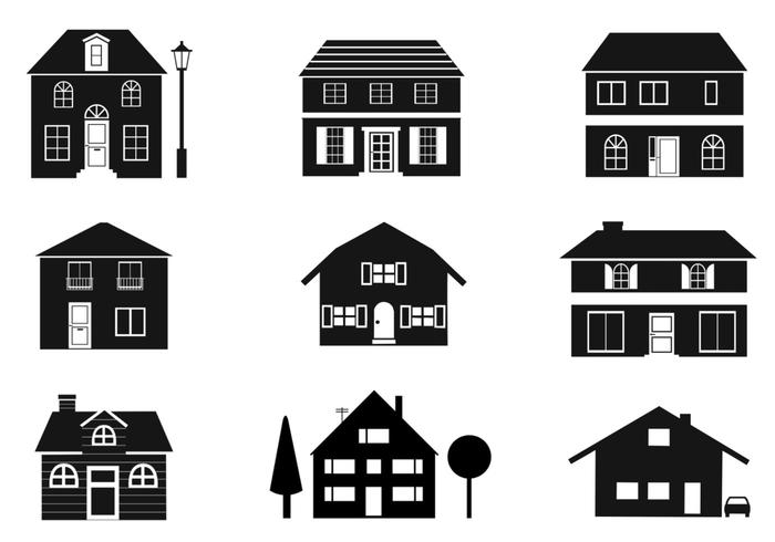 700x490 Black And White Houses Vector Pack
