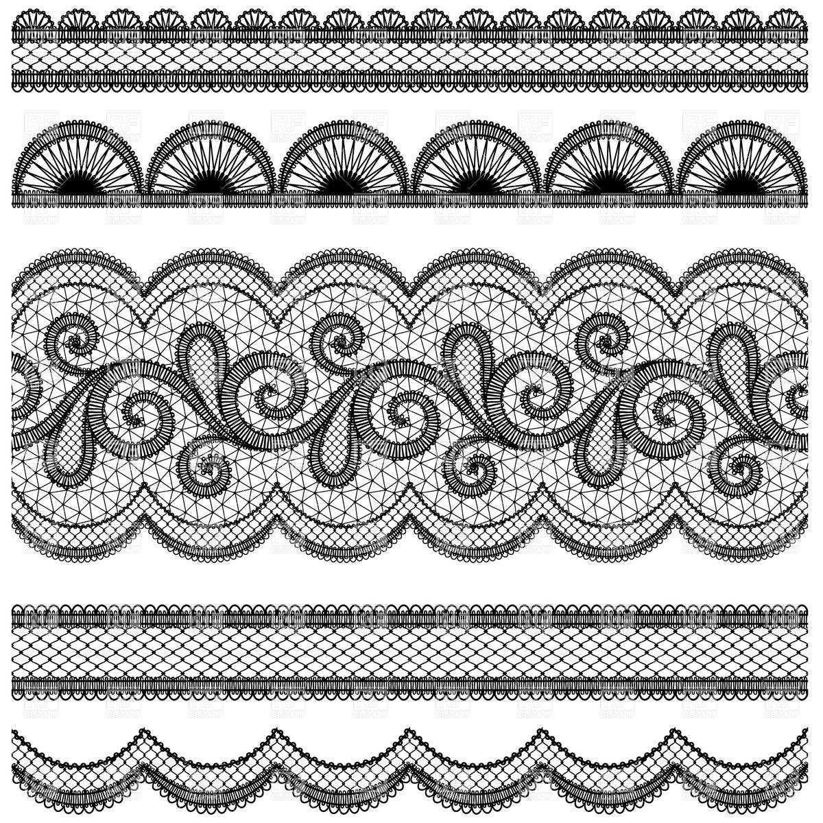 1200x1200 Set Of Ornate Lace Borders Vector Image Vector Artwork Of