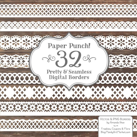 570x570 32 Premium White Paper Punch Lace Borders Clipart Amp Vectors Etsy