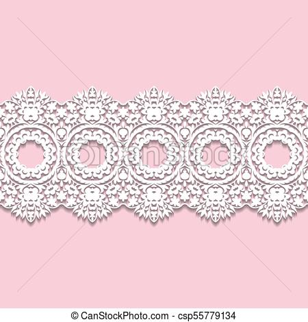 450x470 White Lace Border With Shadow, Ornamental Paper Line, Vector