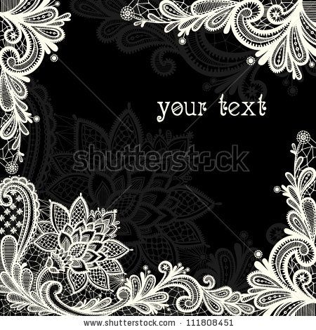 450x470 Lace Background With A Place For Text. Black And White Lace Vector