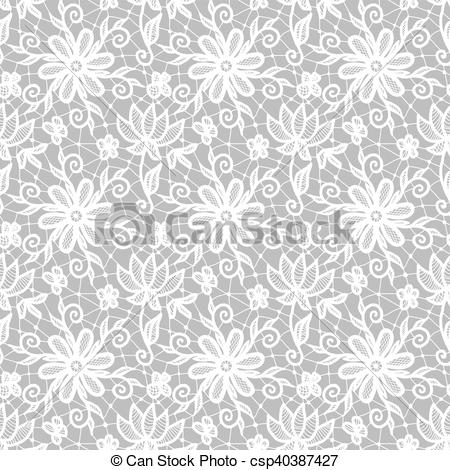 450x470 Seamless White Lace Background With Floral Pattern Vector