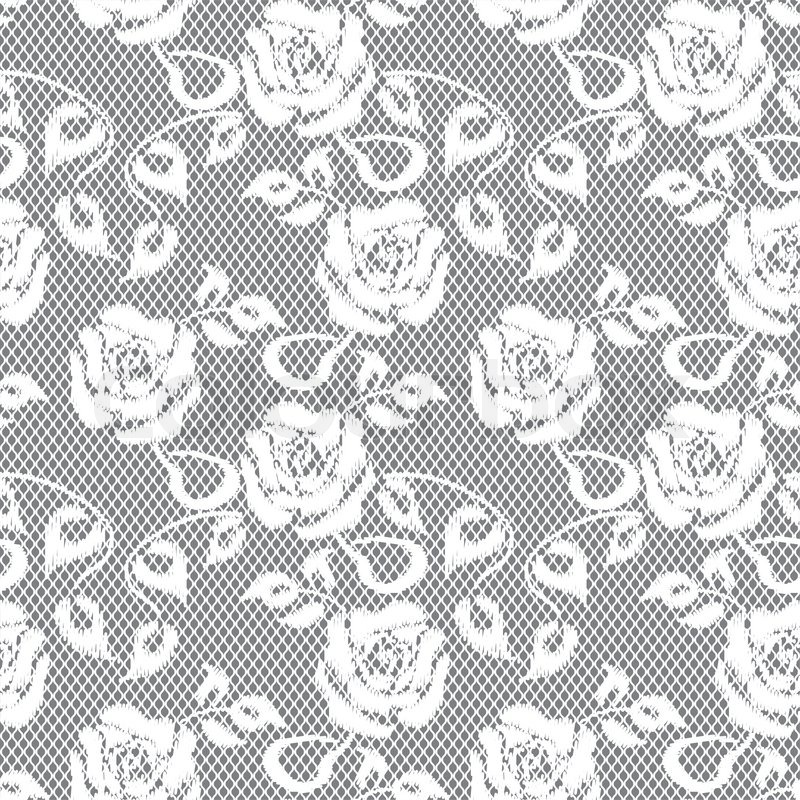 800x800 White Lace Seamless Pattern On Gray Background Stock Vector