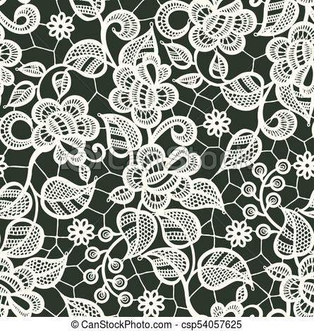 445x470 White Lace Vector Seamless Pattern. Floral Pattern. White Lace