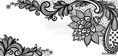 500x239 Black Lace Vector Design. Stock Image And Royalty Free Vector