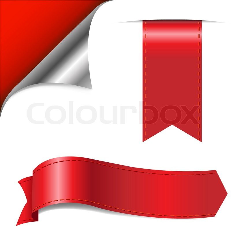 800x781 Red Ribbons Set, Isolated On White Background, Vector Illustration