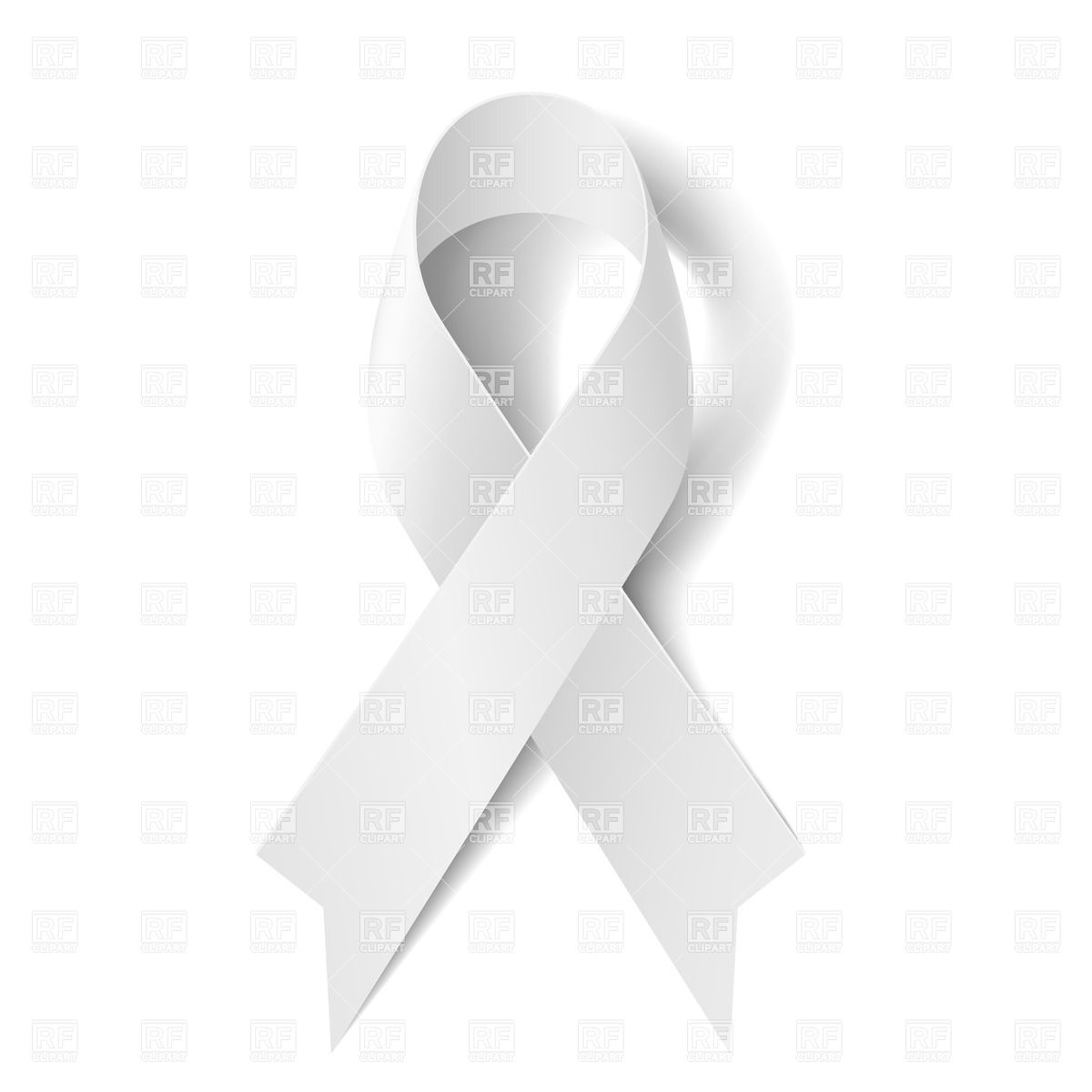 1200x1200 White Awareness Ribbon On White Background Vector Image Vector