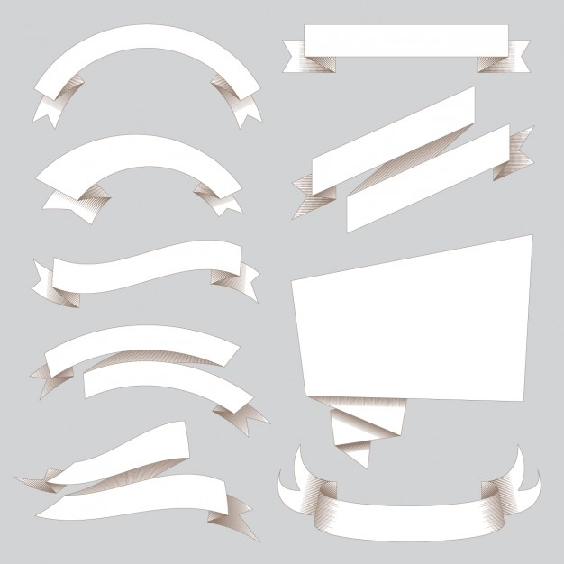 626x626 White Ribbons Collection Vector Free Download