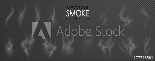 500x197 Smoke Vector Collection, Isolated, Transparent Background. Set Of