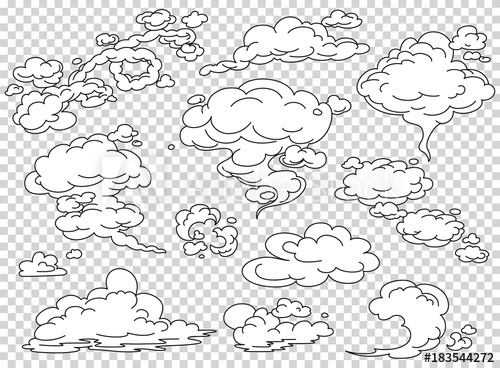 500x368 Comic Book Steam Clouds Set. Cartoon White Smoke Vector