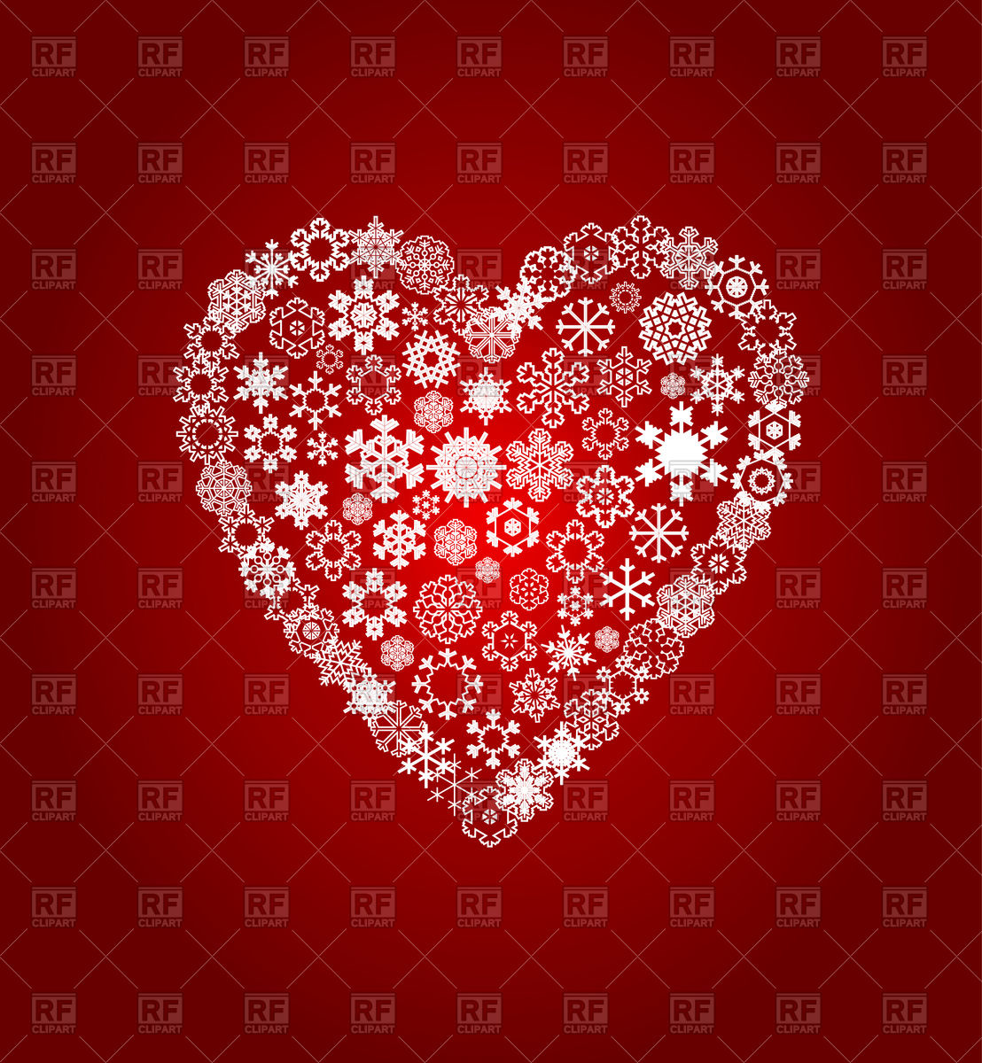 1108x1200 Heart From White Snowflakes Vector Image Vector Artwork Of
