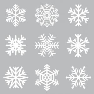 300x300 Photostock Vector White Snowflake Icon Collection With Shadow On