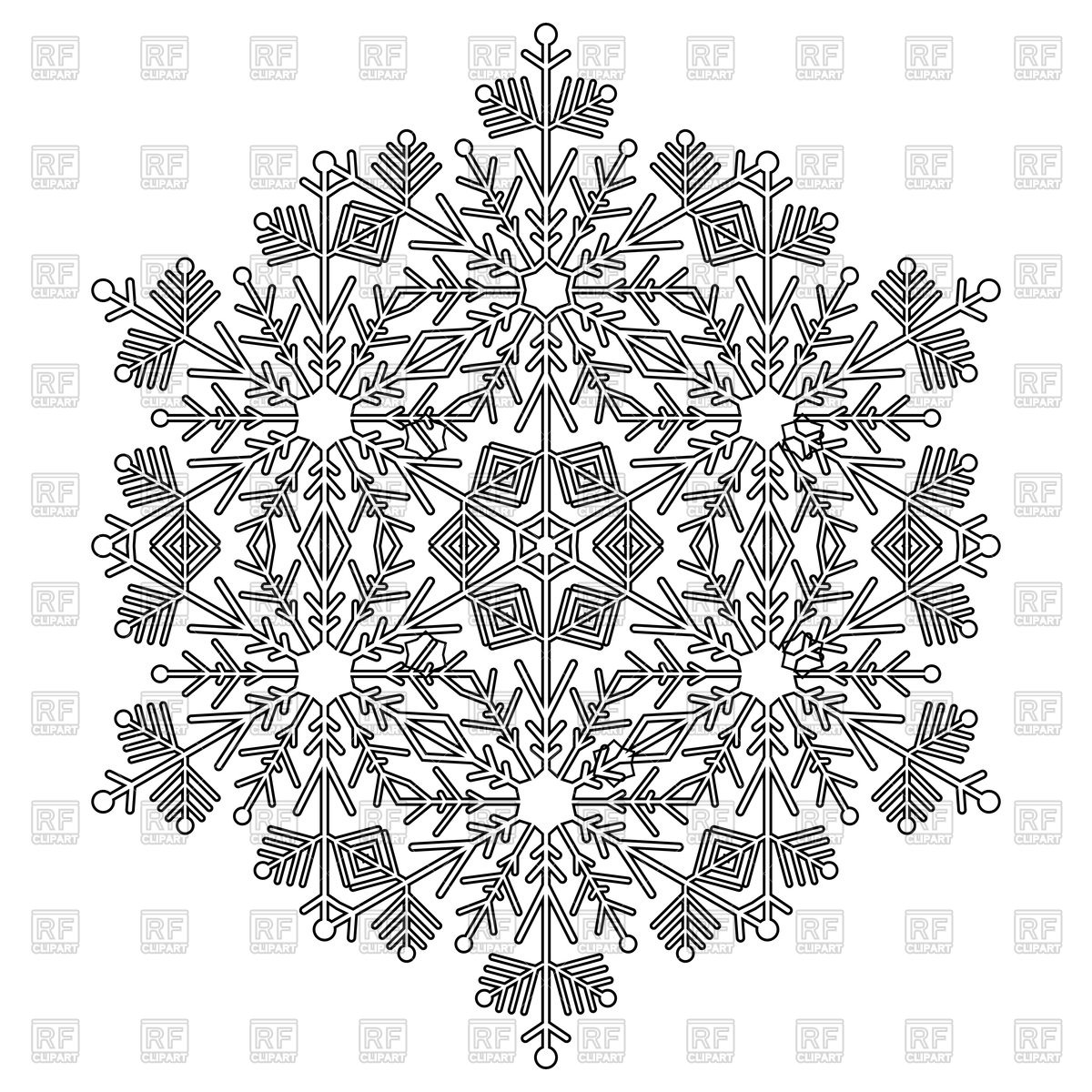 1200x1200 Round Black And White Snowflake Vector Image Vector Artwork Of