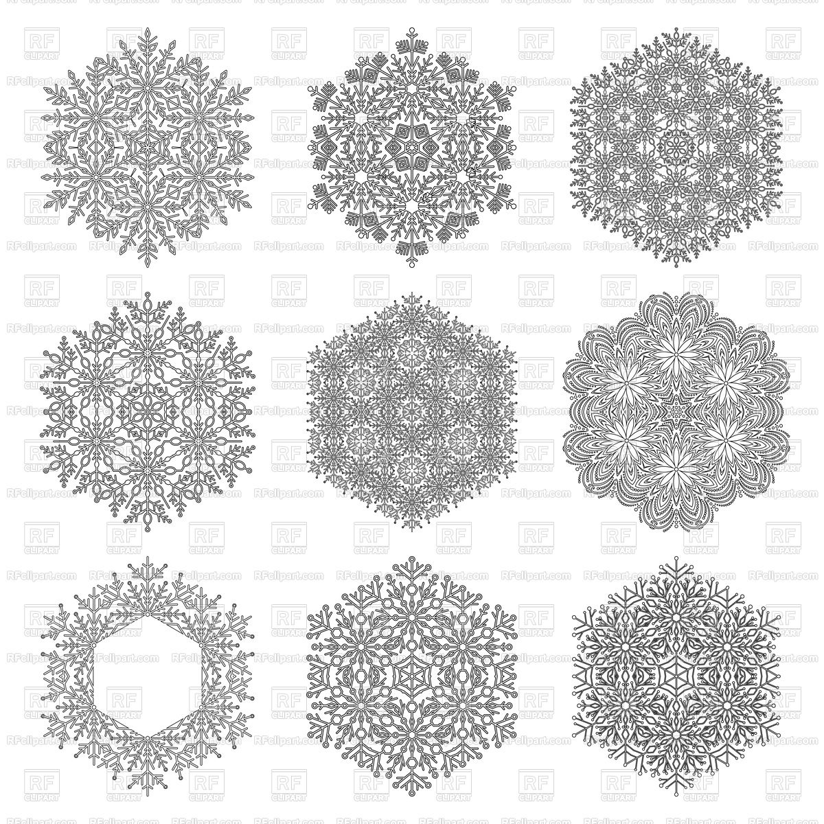 1200x1200 Set Of Black And White Snowflakes Vector Image Vector Artwork Of