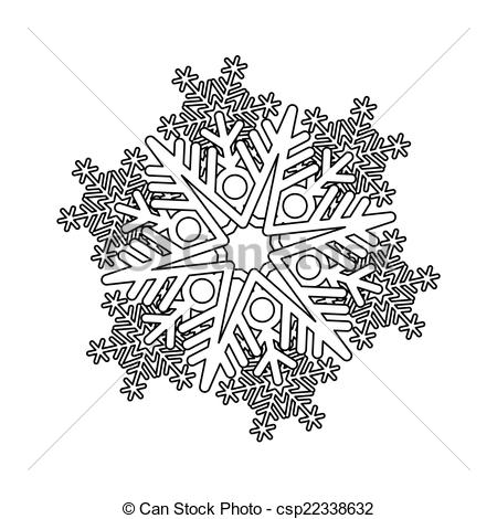 450x470 Vector Snowflake. Black And White Snowflake