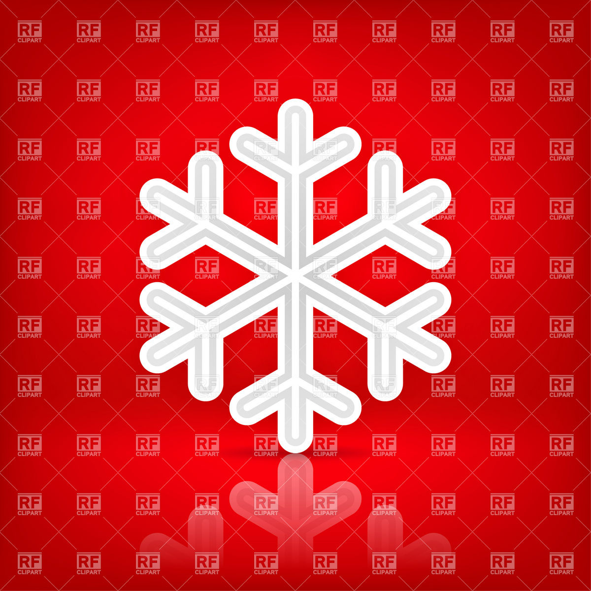 1200x1200 White Snowflake Icon On The Red Background Vector Image Vector