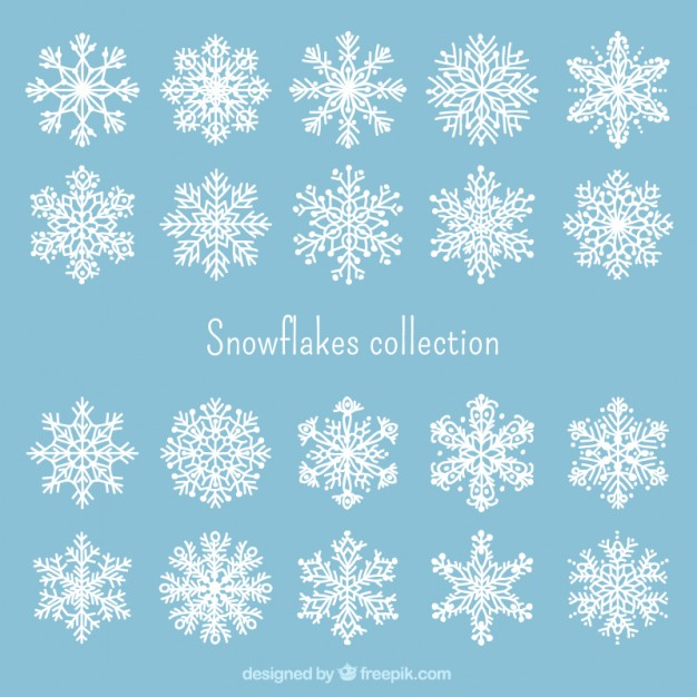 626x626 White Snowflakes Collection Vector Free Download