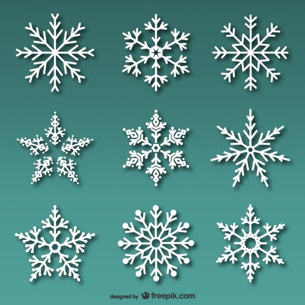 626x626 White Snowflakes Pack Vector Free Download