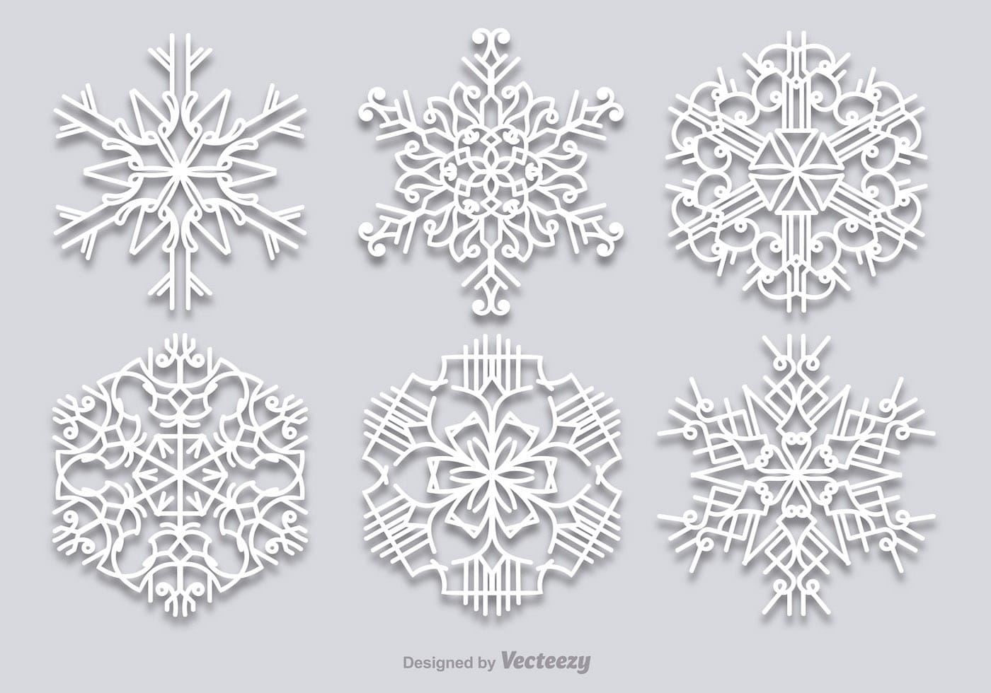 1400x980 White Snowflakes Set