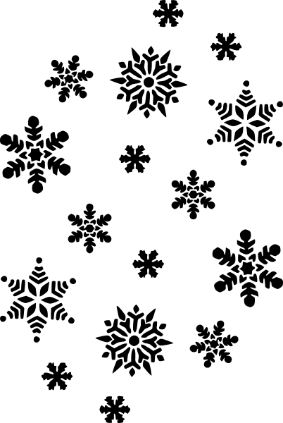 402x600 Black And White Patterns Snowflakes Silhouette Clip Art