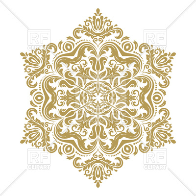400x400 Golden Pattern With Damask And Floral Elements On White Background