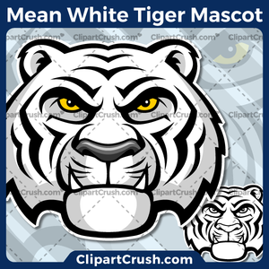300x300 Mean Angry White Tiger Head Mascot Clipart