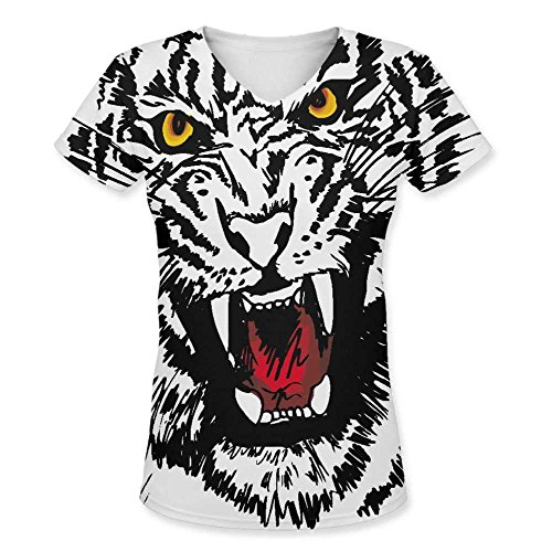 500x500 Snoogg Sketch Of White Tiger Vector Illustration Womens Casual V