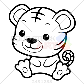 340x340 Stock Illustration Of Black And White Tiger Character Sits Forward