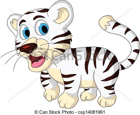 450x370 Vector Illustration Of Cute Baby White Tiger Walking.