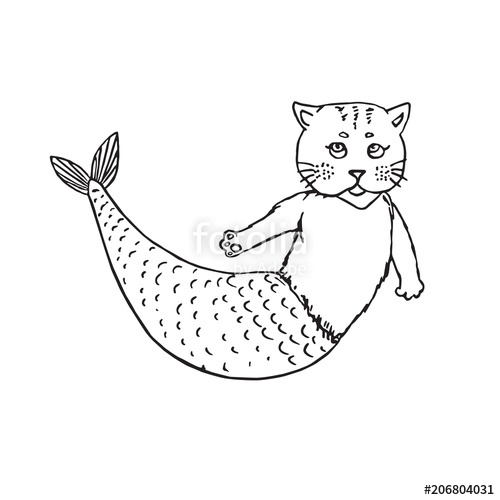 500x500 Mermaid Cat, Hand Drawn Outline Doodle Sketch, Black And White
