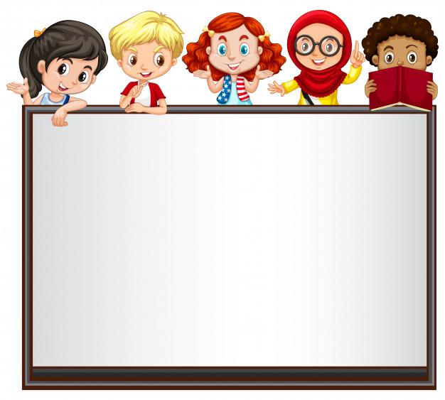 626x563 International Children On Whiteboard Vector Premium Download