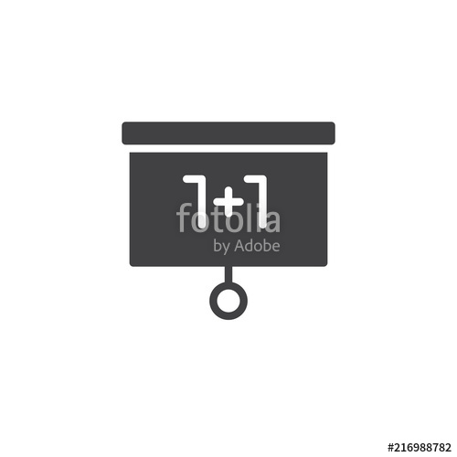 500x500 Mathematics Whiteboard Vector Icon. Filled Flat Sign For Mobile