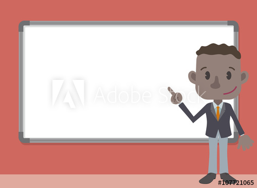 500x367 Colored Business Person Character Pointing Whiteboard, Vector