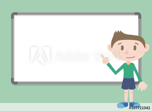 500x367 Young Boy Character Pointing Whiteboard, Vector Illustration