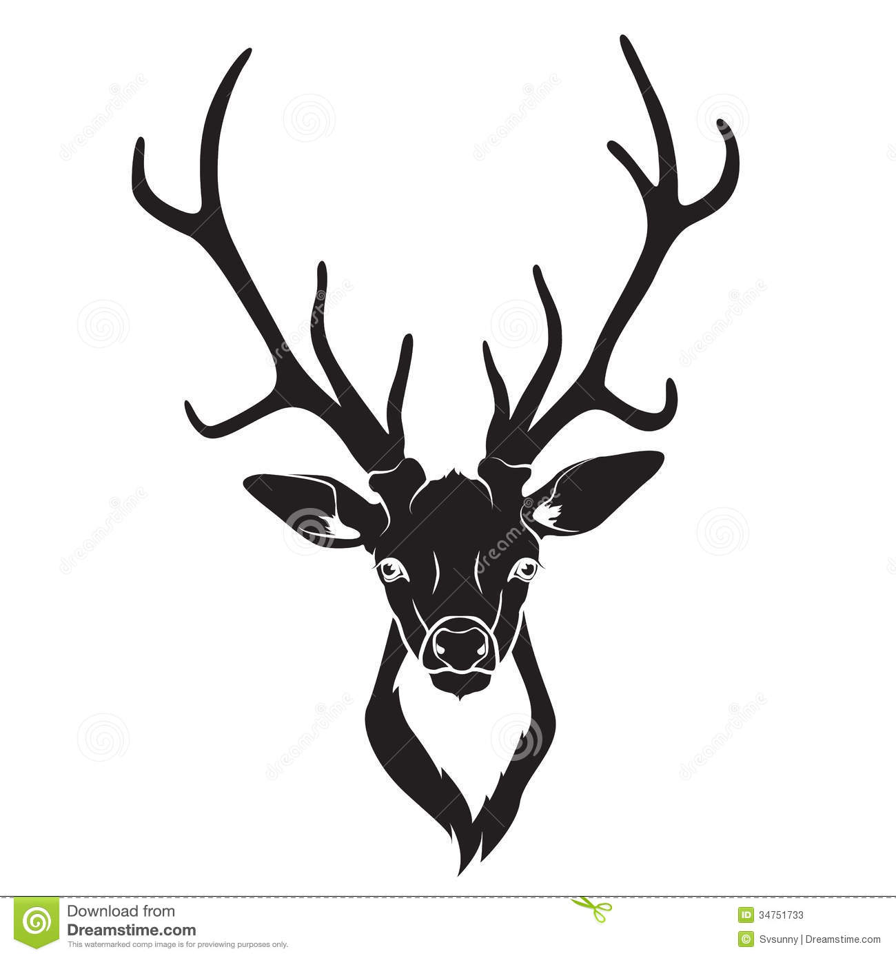 Whitetail Deer Head Vector