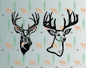 340x270 Buck Head Vector Etsy