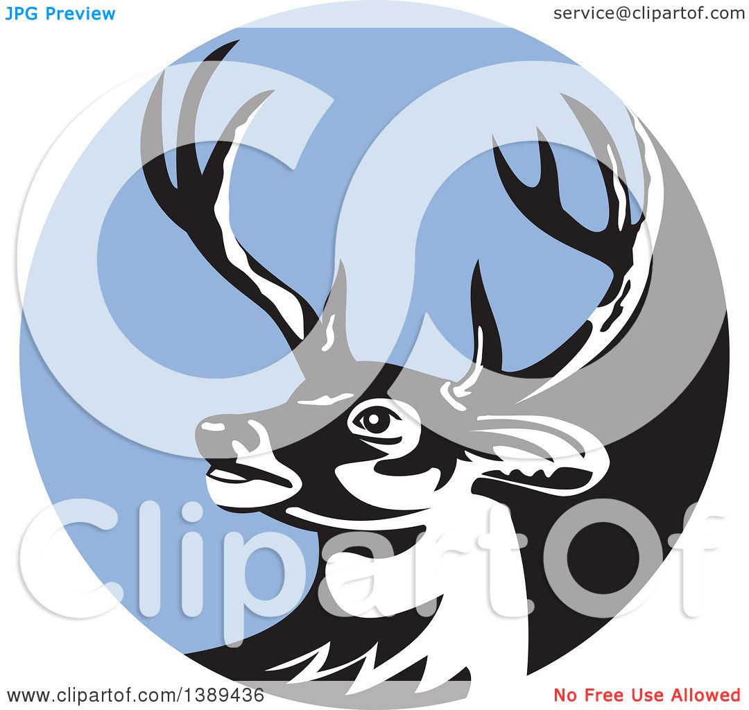 1080x1024 Clipart Of A Retro Whitetail Deer Buck Head In A Blue Circle