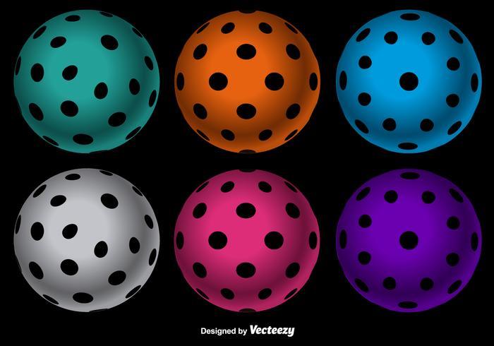 700x490 Vector Colorful Floorball Balls Set