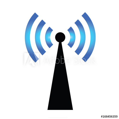 500x500 Wifi Icon Vector With Antenna, Wireless Internet Sign Isolated On