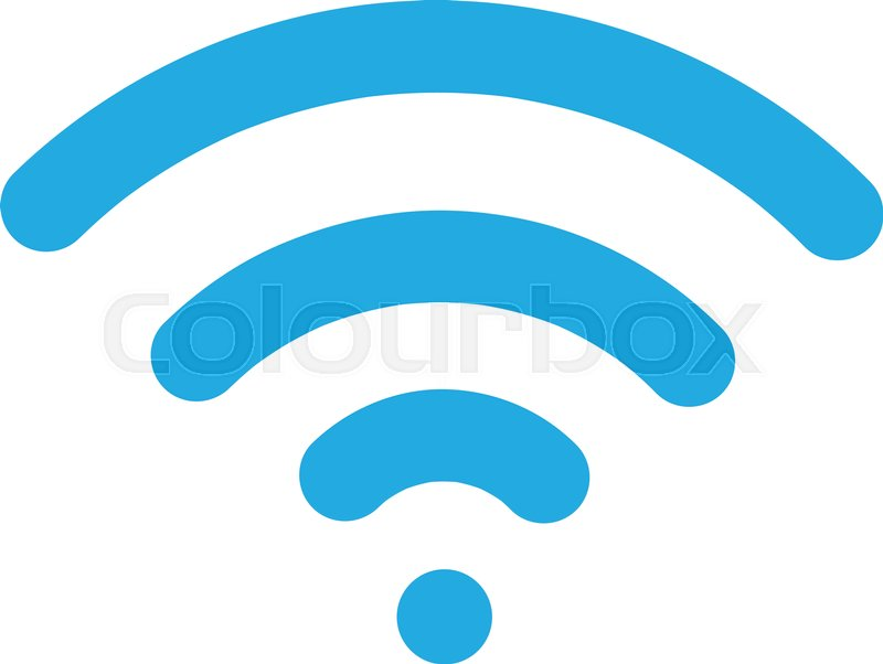 800x602 Blue Wifi Icon Vector, Wireless Internet Sign Isolated On White