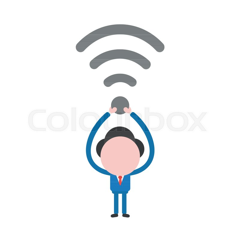 800x800 Vector Illustration Businessman Mascot Character Holding Up