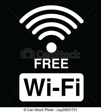 427x470 Free Wifi Symbol. Monochrome Wifi Text Symbol Isolated On Black