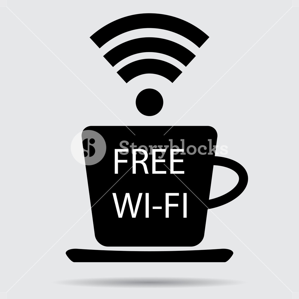 1000x1000 Free Wifi Vector. Cup Of Coffee And Wifi Icon, Free Internet And