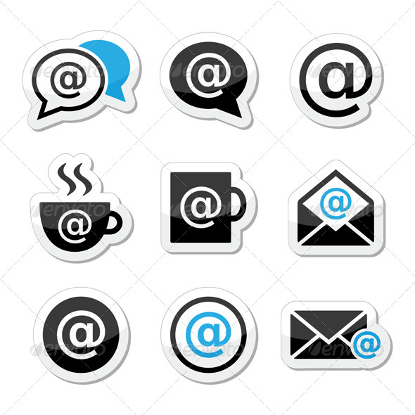 590x590 Email, Internet Cafe, Wifi Vector Icons Set By Redkoala Graphicriver