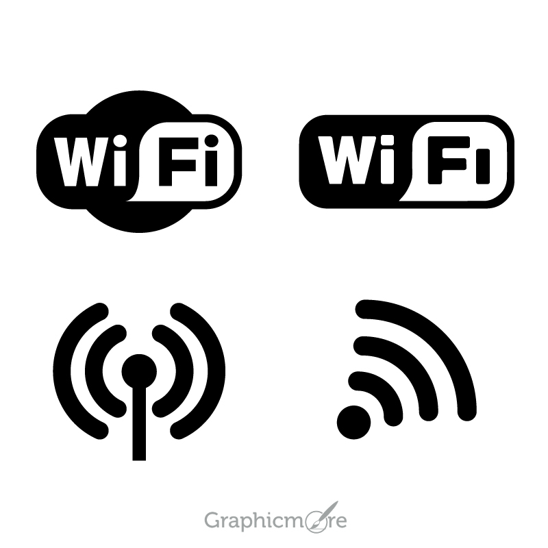 800x800 Wifi Logo Icons Set Design Free Vector File Download By Graphicmore